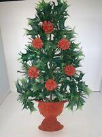Vintage Plastic Christmas Tree HOLLY PINECONES Wall Hanging Hong Kong Flocked