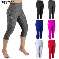 Women Yoga Gym Cropped Pants High Waist Legging Fitness Sport Stretch Trousers