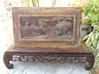 A346  Antique Carved Gold Gilt Wood Panel  w  Chicken