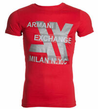 Armani Exchange MILAN Mens Designer T-SHIRT Premium RED Slim Fit $45 NEW