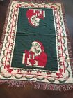 """Vintage Santa Christmas Tapestry Blanket Throw Appx 72""""x47"""" Green Red Fringes"""