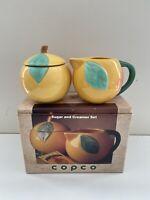 "Peach Ceramic Glazed Sugar and Creamer Set 3 1/2"" Tall"