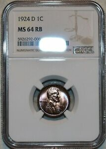 NGC MS-64 RB 1924-D Lincoln Cent, Beautifully toned, Red-Brown specimen!