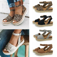 Womens Peep Toe Ankle Strap Platform Sandals Casual Espadrilles Slingback Shoes