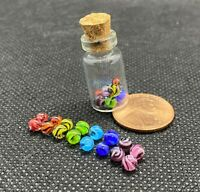 Contemprorary Handmade Glass Rainbow Ribbon Twist Mini Micro Marbles Pride