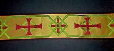 "Vintage French Orphrey Cross Design Red Green Banding Vestment Silk 3-1/4"" Wide"