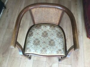 Wooden tub chair with rattan back insert for restoration