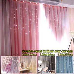 UK Star Blackout Curtains Double layer Net Shading Curtains Girls Bedroom Decor