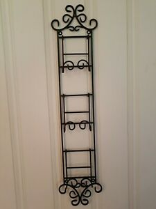 """WROUGHT IRON 2-WAY BLACK WALL 3-DECORATIVE PLATE HOLDER (35-1/2"""" L × 8"""" H)"""