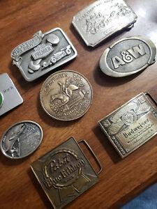 Vintage Belt Buckle Lot Brass AW Pabst Budweiser Tiffany