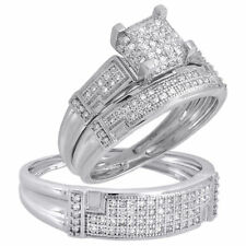Diamond Trio Set His Her Matching Engagement Wedding Ring 10k White Gold 1/2 Ct
