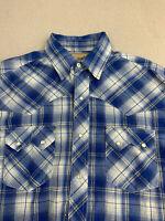 Wrangler Button Up Shirt Mens Sz M Blue White Plaid Cowboy Western Snap Shirt