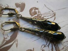 Orecchini gothic gocce onice nera filigrana earrings