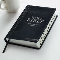 KJV HOLY BIBLE King James Version Black Faux Leather Thumb Index Red Letter NEW