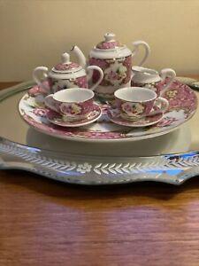 Brompton & Cooper 'Chelsea Flowers' Fine China 10-pce Miniature Tea Set,