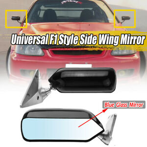 Pair Universal Glossy Blue Mirror Metal Bracket Car Side Door Fender F1 Style