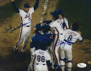 New York Mets Bud Harrelson and Gary Carter signed 8x10 photo w/ JSA Cert