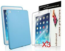 Soft Silicone Case for iPad Mini with Retina Display Skyblue+3x HD screen skin