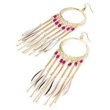 Gold & Silver Colour Fuchsia Pink Long Drops