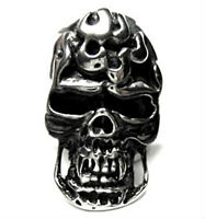 Stainless Steel Statement Ring ~SKULL AND FLAMES~ Designed for Bikers, size 13
