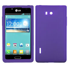 LG Optimus Showtime L86c Rubber SILICONE Soft Gel Skin Case Phone Cover Purple
