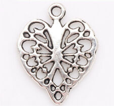 15/150Pcs Tibetan silver Crafts Jewelry Leaves Heart DIY Charms Pendants 22*18mm
