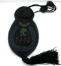 Victorian Black Kid Leather Purse German Beads Antique Handbag 3 Leaf Clover