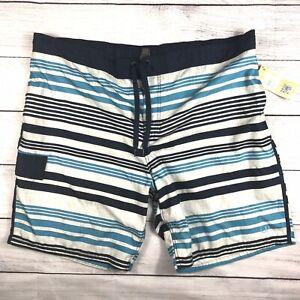 NWT 3XL OP Ocean Pacific Mens Stripe Board Shorts Swim Trunks Lined Blue