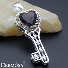 Fairy LOVE KEY 925 Sterling Silver Necklace Pendant Mystical Fire Amethyst