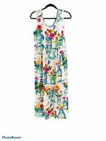 Vintage Jams World 90's Watercolor Floral Sleeveless Size M Janice Maxi Dress