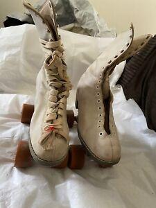 Women's White Vintage Rental Roller Skates Size 7