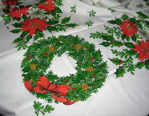 "vtg Fallani Christmas Tablecloth Wreath Poinsettia 60"" x 80"" rectangle Holiday"
