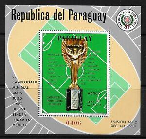 STAMPS-PARAGUAY. 1969. Jules Remy Trophy Miniature Sheet. Mi: BL 130. MNH.