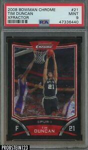 2008-09 Bowman Chrome XFractor Tim Duncan Spurs 60/299 PSA 9 POP 2