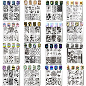 Born Pretty Nail Stamping Plates Square Cat Tiger Floral Rose Image Templates