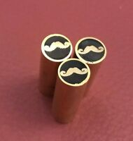 Lot of 3 Mustache Mosaic Pins-Brass-Razor-Axe-Knife Handle Making Supply