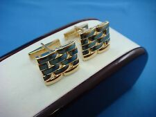 UNUSUAL 14K SOLID YELLOW GOLD WITH 18K WATCH BAND LINKS TOP MEN`S CUFFLINKS
