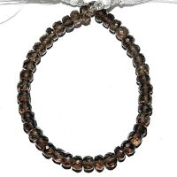 """NG2197 Smoky Quartz 4mm -  5mm Hand-Cut Faceted Rondelle Gemstone Beads 6"""""""