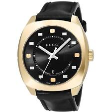 Gucci GG2570 Men's Gold Tone Swiss Black Leather Strap Watch 41mm YA142310 - NEW