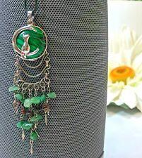 Cat on Moon Malachite Stone Round Healing Amulet Pendant Necklace