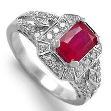 18K WHITE GOLD GENUINE RUBY & DIAMOND ENGAGEMENT RING #R958.
