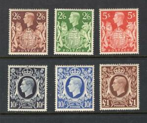 Great Britain 1939-48 King George VI Set - OG MNH-SC# 249-51A, 275  Cats $487.00