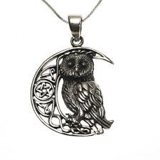 Plata esterlina 925 Owl Luna Pentagrama Estrella Colgante Collar Lisa Parker