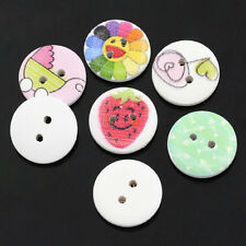 25  Assorted Designs Wooden  Buttons 15mm Sewing crafts accessories Free UK P&P