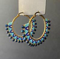 Boho chunky blue crystal and seed bead gold tone hoop earrings