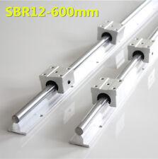 2X SBR12 600mm Linearführung Gleitschiene Welle + 4X SBR12UU Linearblock