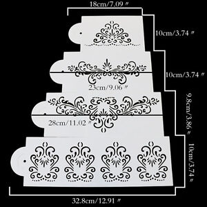 4PCS/Set Stencil Flower Fondant Cake Stencil Cookie Cake Stencil Decor Tool-  SX