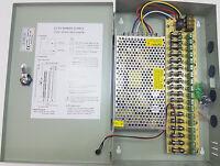 9 - 18 Way CCTV Security Camera DC Power Supply Metal Box Lockable Key Included