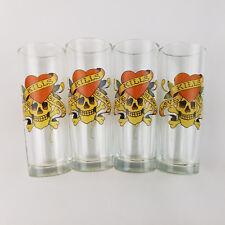 Set of 4 Ed Hardy Shot Glasses 2oz. Love Kills Softly Skull Design