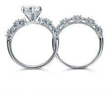 Vintage Style Created Diamond Solid Sterling 925 Silver 2-Pc Wedding Engagement